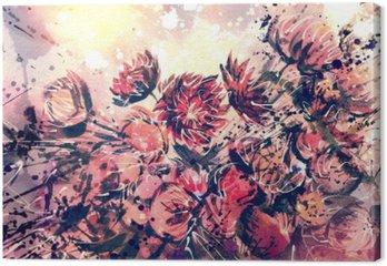Leinwandbild Zeichnung, Aquarell Strauß Strohblume