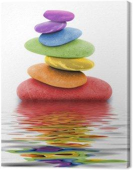 Leinwandbild Zen regenbogen kieselsteine im wasser