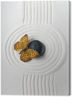 Leinwandbild Zen Stein mit Schmetterling