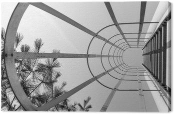Leinwandbild Zusammenfassung industriellen Leiter. Blick nach oben. Minimal-Design-Kunst. Moderne Kunst-Design. Industrielles Design. Stahlträger Leiter. Städtische Geometrie. Städtische Fotografie. Straßenfotografie. Schwarz und weiß.