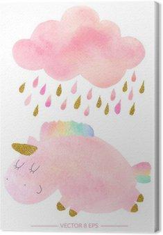 Lerretbilde Akvarell enhjørning og sky med regn