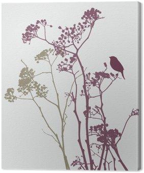 Lerretbilde Fugl på eng blomster