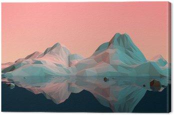 Lerretbilde Low-Poly 3D fjelllandskap med vann og refleksjon