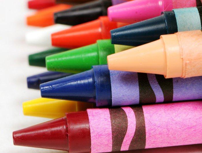 macro profile shot of colorful crayons
