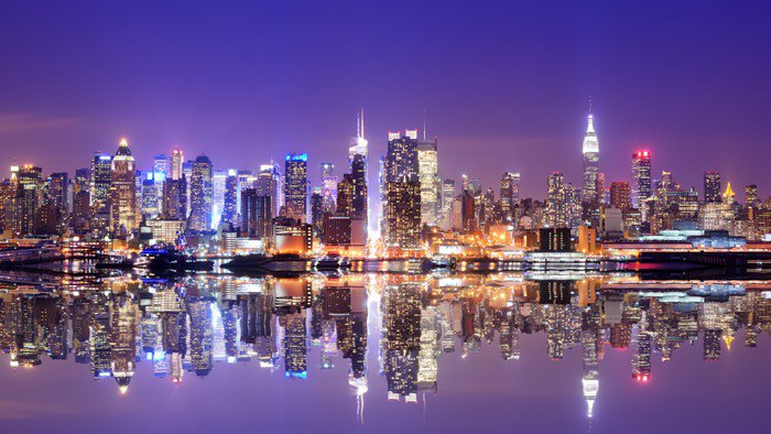 Obraz w Ramie Manhattan skyline z odbicia -