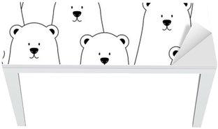 Masa Çıkartması Beyaz kutup ayıları ve panda ile Vektör sorunsuz desen