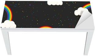 Masa Çıkartması Gece gökyüzü fantezi çocuk seamless pattern. Yıldız konfeti, bulutlar ve gökkuşağı çocuk gri duvar kağıdı ve kumaş tasarımı.