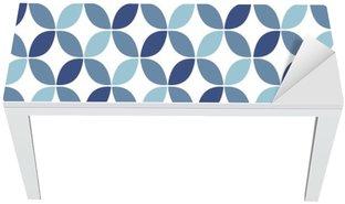 Masa Çıkartması Mavi Geometrik Retro Dikişsiz Desen