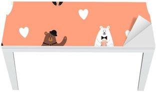 Masa Çıkartması Sevimli desen taşımaktadır. kutup ayısı, kahverengi ayı ve panda ile sorunsuz romantik arka plan.