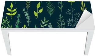 Masa Çıkartması Vektör yeşil suluboya çiçek seamless pattern.