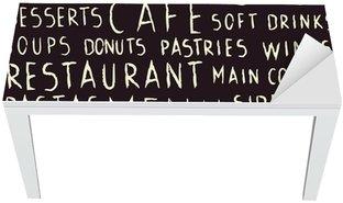 Mat- och Skrivbordsdekor Handskriven restaurang relaterade sömlösa mönster på svart tavla
