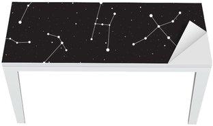 Mat- och Skrivbordsdekor Starry natt, seamless, bakgrund med stjärnor och konstellationer, vektor