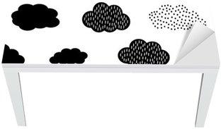 Mat- och Skrivbordsdekor Svart och vitt sömlösa mönster med moln. Söt baby shower vektor bakgrund. Barn ritning stil illustration.