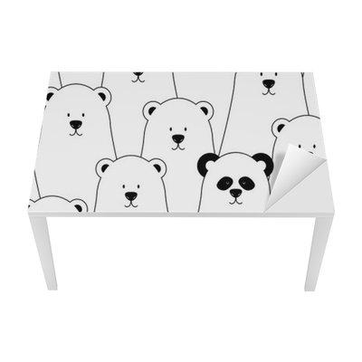 Mat- och Skrivbordsdekor Vector seamless med vita isbjörnar och panda