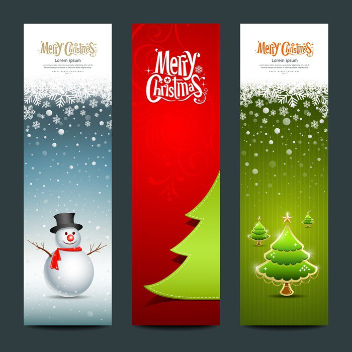Merry Christmas banner design vertical background set