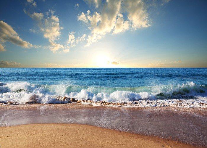Obraz na Płótnie Morze zachód słońca - Palmy