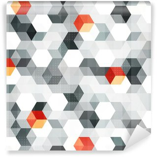 Mural de Parede em Vinil abstract cubes seamless pattern with grunge effect