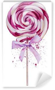 Mural de Parede em Vinil Aguarela Lollipop doce