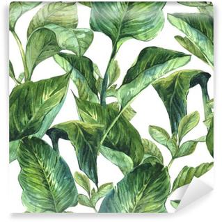 Mural de Parede em Vinil Aquarela Fundo sem emenda com folhas tropicais