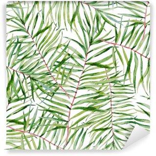 Mural de Parede em Vinil Aquarela padrão das folhas tropicais