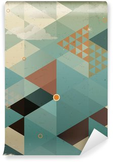 Mural de Parede Autoadesivo Abstract Retro Geometric Background with clouds