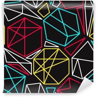 Mural de Parede Autoadesivo Conceito de CMYK vector padrão sem emenda geométrico em cores vívidas