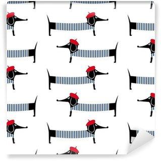 Mural de Parede Autoadesivo Dog estilo francês padrão sem emenda. bonito dos desenhos animados da ilustração do vetor dachshund parisiense. Desenho da criança fundo cachorro estilo. Francês cão vestido estilo com boina vermelha e vestido listrado.