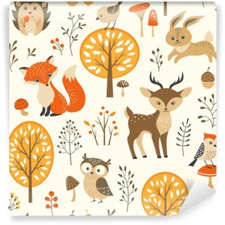 Mural de Parede Autoadesivo Floresta do outono padrão sem emenda com animais bonitos