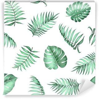 Mural de Parede Autoadesivo Folhas de palmeira tópica sobre padrão sem emenda por textura de tecido. ilustração do vetor.