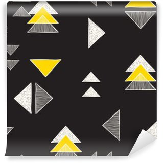 Mural de Parede Autoadesivo Padrão de triângulos desenhados à mão sem costura.