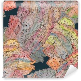 Mural de Parede Autoadesivo Textura sem emenda da forma com teste padrão floral abstrato. watercolo