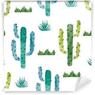 Mural de Parede em Vinil Cactus Aquarela padrão sem emenda. Fundo do vetor com cacto verde e azul isolada no branco.