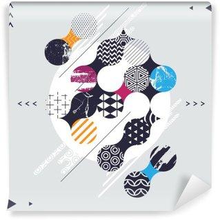 Mural de Parede em Vinil Composição geométrica abstrata com círculos decorativos