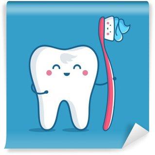 Mural de Parede em Vinil Dente com escova de dentes