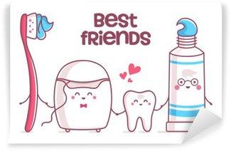 Mural de Parede em Vinil Dente, creme dental, fio dental, escova de dentes
