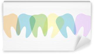 Mural de Parede em Vinil Dentes coloridos ilustração
