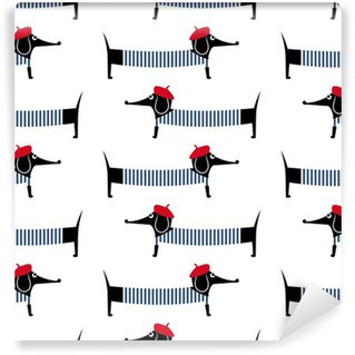 Mural de Parede em Vinil Dog estilo francês padrão sem emenda. bonito dos desenhos animados da ilustração do vetor dachshund parisiense. Desenho da criança fundo cachorro estilo. Francês cão vestido estilo com boina vermelha e vestido listrado.