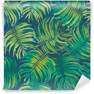 Mural de Parede em Vinil Folhas de palmeira Tropic Seamless Vector Pattern