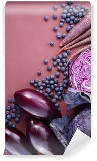 Mural de Parede em Vinil Frutas e vegetais roxos