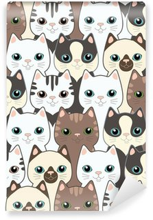 Mural de Parede em Vinil Funny cartoon cats. Seamless pattern