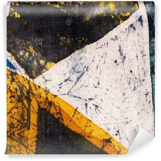 Mural de Parede em Vinil Geometria, batik quente, textura do fundo, feito à mão em seda, do surrealismo da arte abstracta