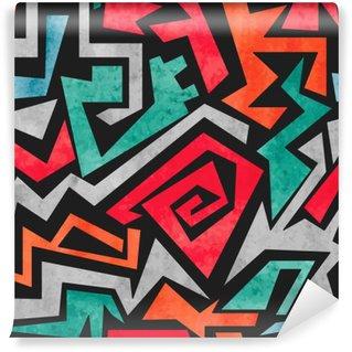 Mural de Parede em Vinil Grafites Aquarela padrão sem emenda. Fundo colorido do vetor abstrato geométrico nas cores vermelho, laranja e azul.