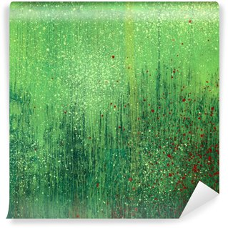 Mural de Parede em Vinil Green acrylic paint background texture paper