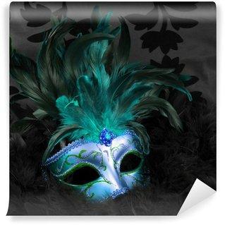 Mural de Parede em Vinil green and blue mysterious mask (venice)