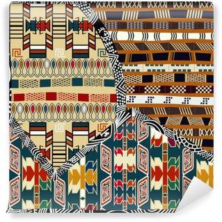 Mural de Parede em Vinil Indiana ilustração pattern.Vector emenda colorida tribal