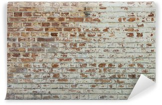 Mural de Parede Lavável Background of old vintage dirty brick wall with peeling plaster