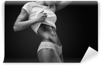 Mural de Parede Lavável Close-up do abdômen muscular do modelo fêmea