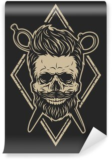 Mural de Parede Lavável Crânio com uma barba e um corte de cabelo à moda.