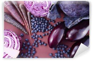 Mural de Parede Lavável Frutas e vegetais roxos