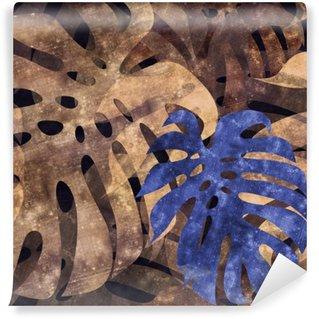 Mural de Parede Lavável Fundo da folha do monstera repetível seamless